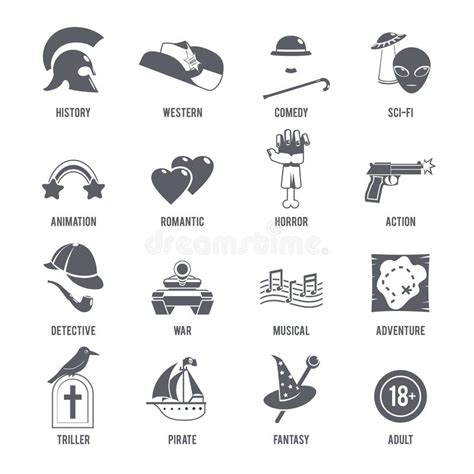 film comedy genres film genres icons black set stock vector illustration of