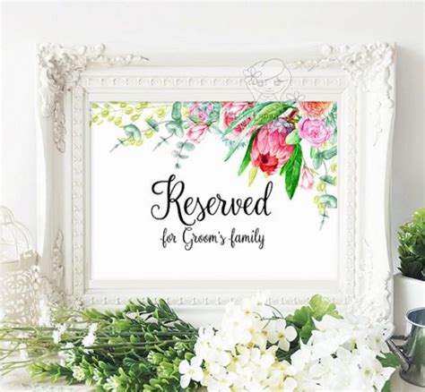 reservedseating card template ceremony printable reserved for and groom s family suite set