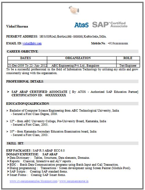 Sap Resume Sample – Joann's Blog 201307
