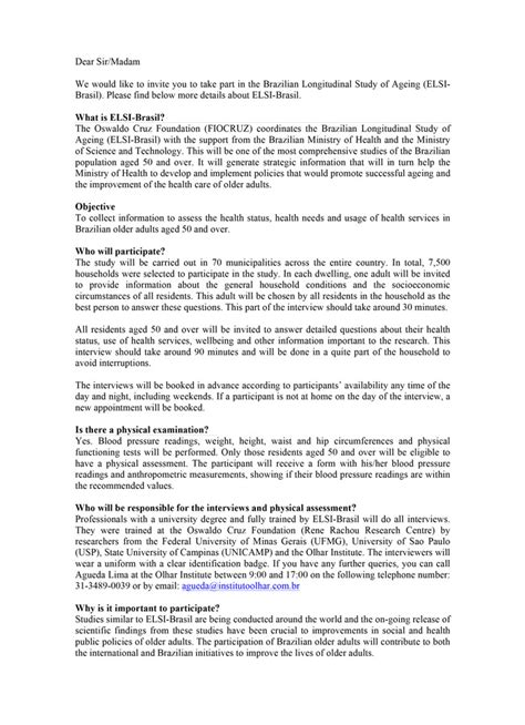 Letter Of Invitation To Research Participants Invitation Letter To The Participant Elsi Brasil