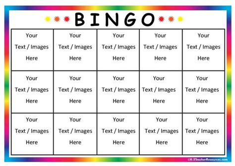 bingo card template in word