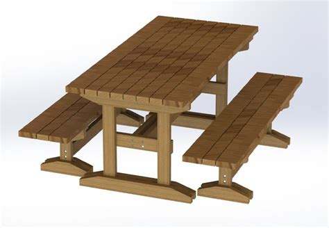ft trestle style picnic table  benches plans easy