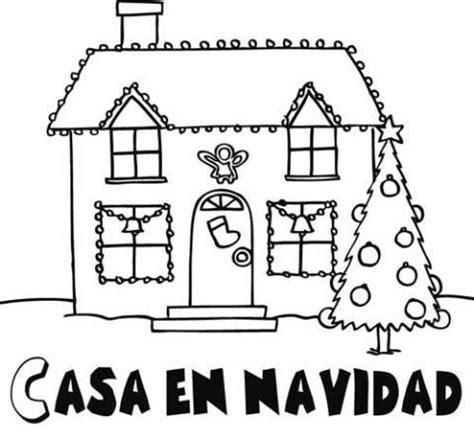 imagenes faciles para dibujar de casas dibujos de una casa adornada en navidad para colorear