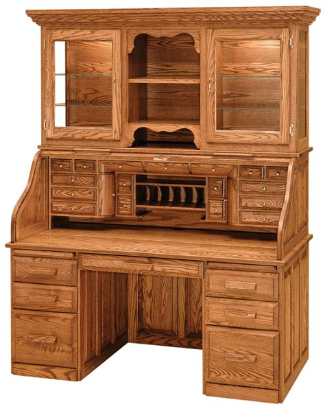 roll top office desk librarians roll top desk with hutch countryside amish