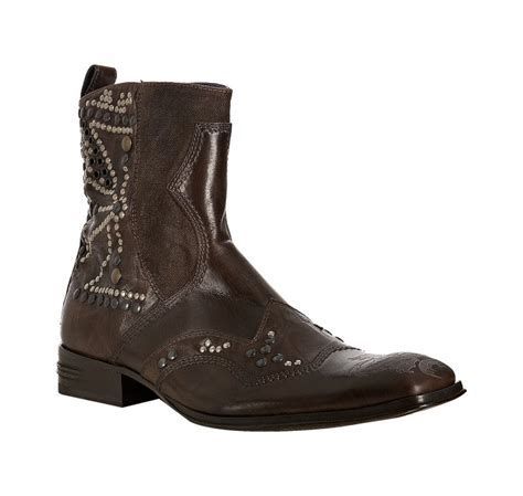 nason boots nason brown leather sham studded cross boots in