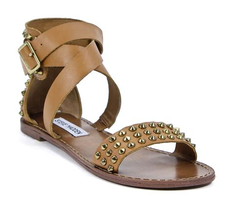 Steve Madden 6 5 by Steve Madden Leather Buddies Studded Multi Sandals Shoes 6 5 New Ebay