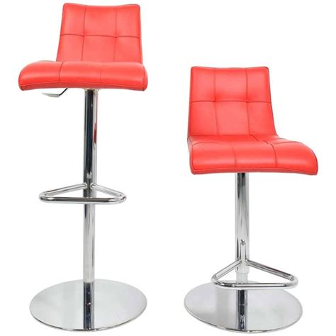 italian leather bar stools pair of italian made red leather adjustable swivel bar