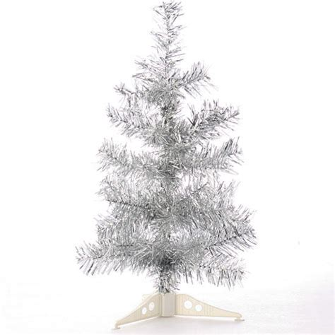 retro silver tinsel christmas tree trees and toppers