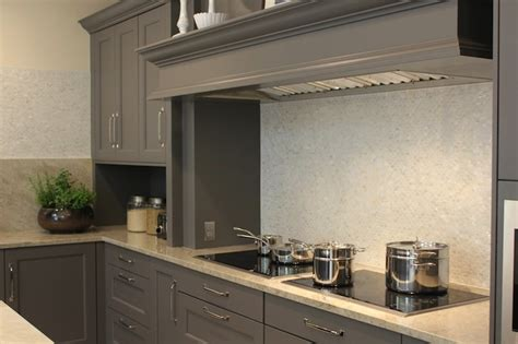 grey kitchen cabinets with granite countertops mosaic glass kitchen tiles design ideas