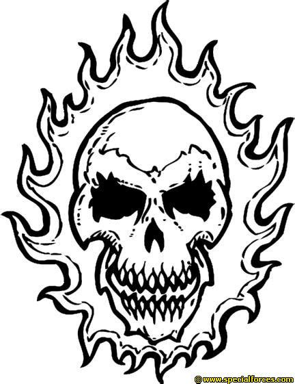 Coloring Pages Fire Skulls | on fire skull coloring pages