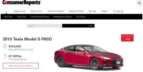 Consumer Reports Tesla Model S Tesla Arrasa De Nuevo En El Road Test De Consumer Reports