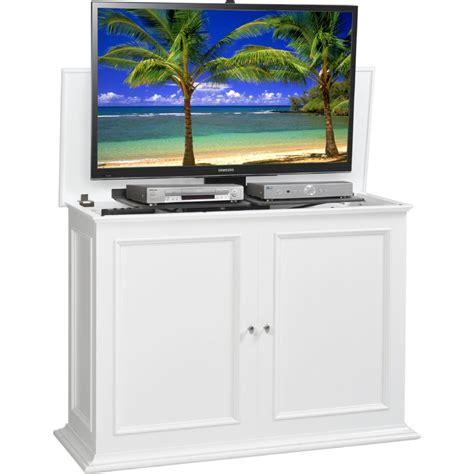 tv lift cabinet at006569wht sanctuary 50 quot hidden flat