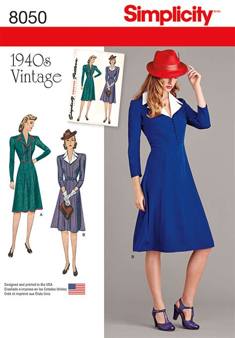 pattern sewing simplicity simplicity 8050 vintage 1940 s dress pattern
