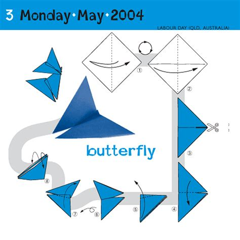 Origami Calender - how to fold a butterfly may 3