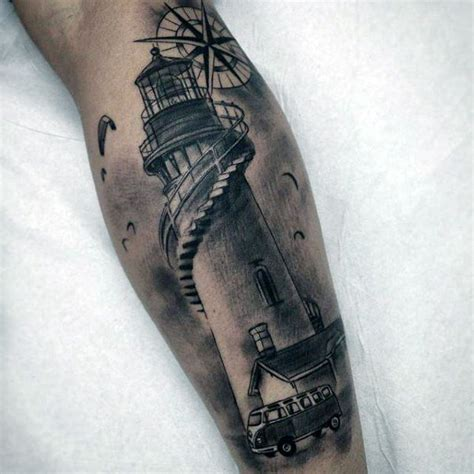 realistic lighthouse tattoo on muscles photo 1 tattoo