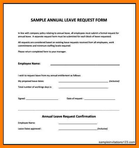 6 annual leave forms template science resume