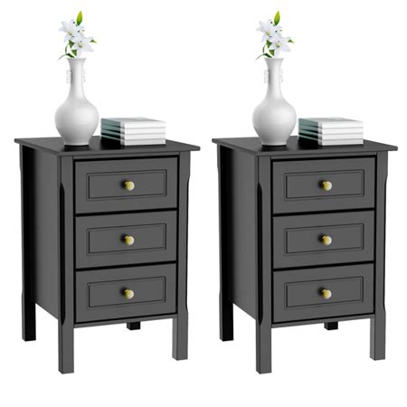 set   drawer tall nightstand  table bedside table  gold handle bedroom furniture