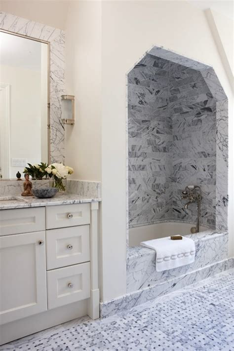 marble shower alcove transitional bathroom anne