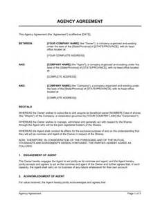 Recruitment Contract Template by Agency Agreement Corporate Duties Template Sle Form