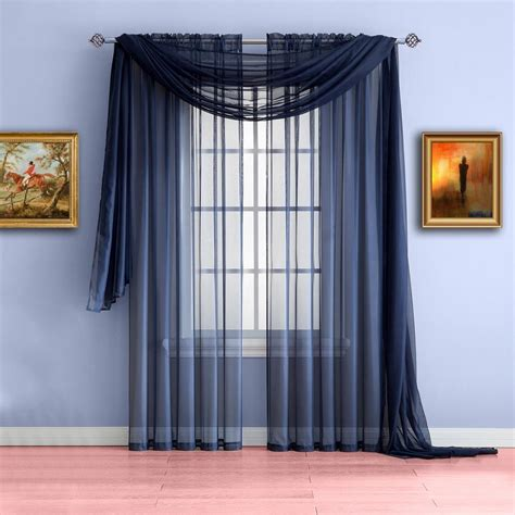 Blue Green Sheer Curtains Warm Home Designs Navy Blue Window Scarf Valances Sheer Navy Curtains Warmhomedesigns