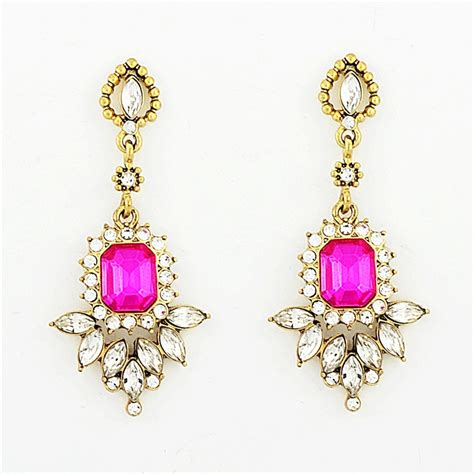 Fringed Rhinestone Earrings fringed drops fuchsia and rhinestone