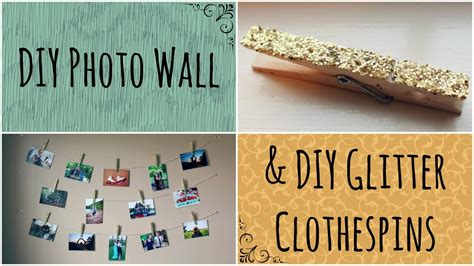 diy 3 ways to decorate clothespins youtube diy photo wall glitter clothespins youtube