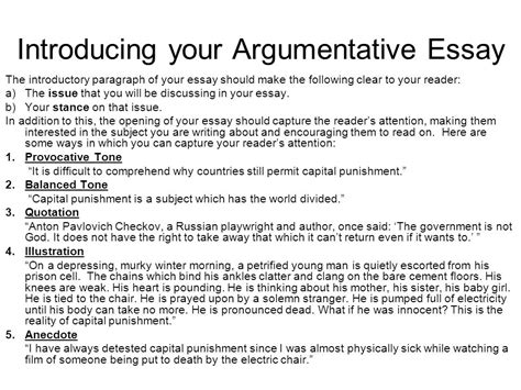 Argumentative Essay Introduction by Structuring Your Essay Ppt