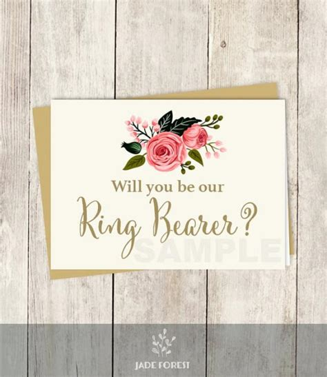 ring bearer card template will you be our ring bearer card diy watercolor
