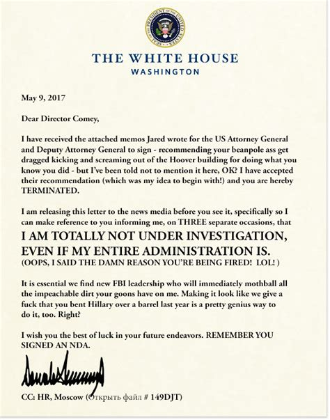 Letter To White House