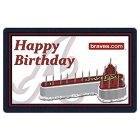 Atlanta Gift Cards - 25 mlb atlanta braves happy birthday gift card findgift com