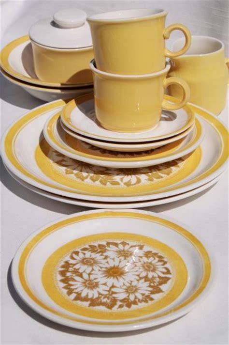 vintage  sunshine yellow daisy print ironstone china