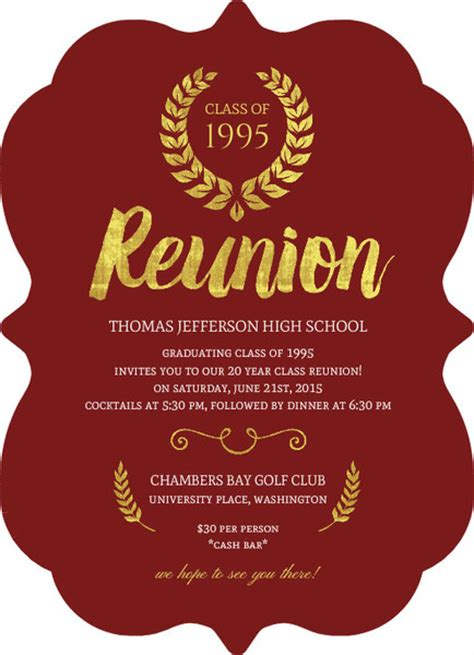beautiful faux gold foil class reunion invitation by
