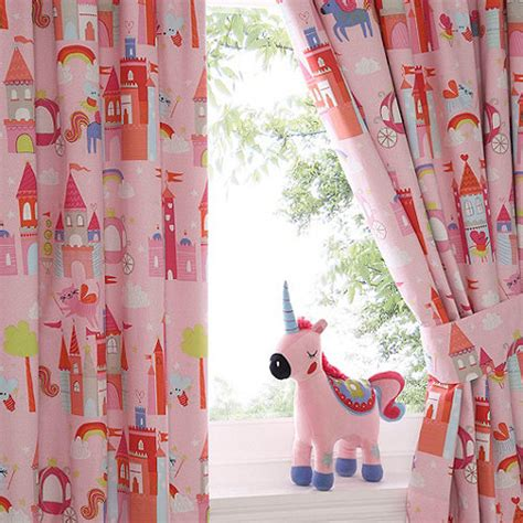 Bluezoo Kids Castle And Unicorns Pair Of Curtains