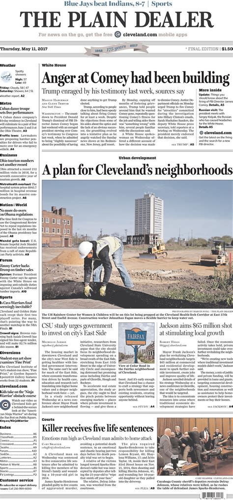 the cleveland plain dealer sports section the plain dealer s front page for may 11 2017 cleveland com