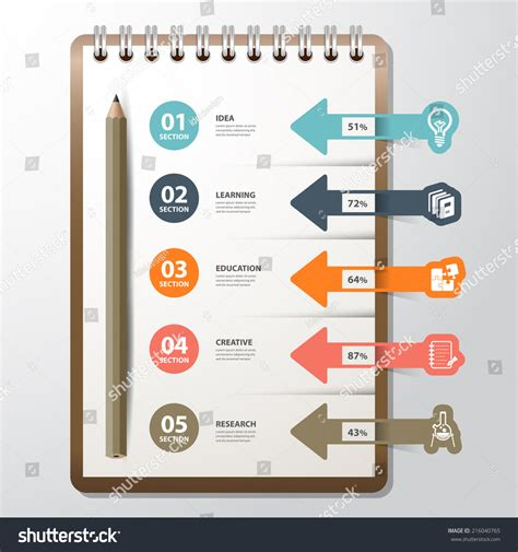 infographic book layout infographic paper book bookmark icon education stock