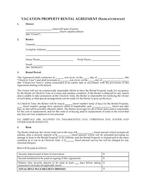 saskatchewan rental agreement template saskatchewan vacation property rental agreement