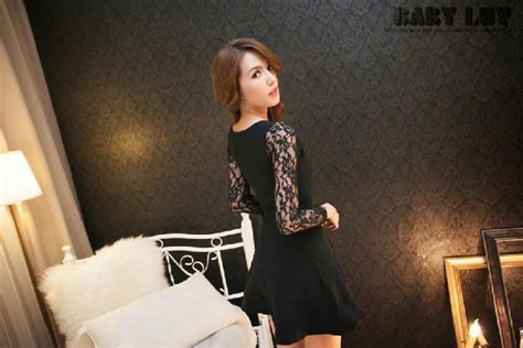 Gz 130 Dress Mini Bahan Katun Stretch dress korea hitam brokat terbaru model terbaru
