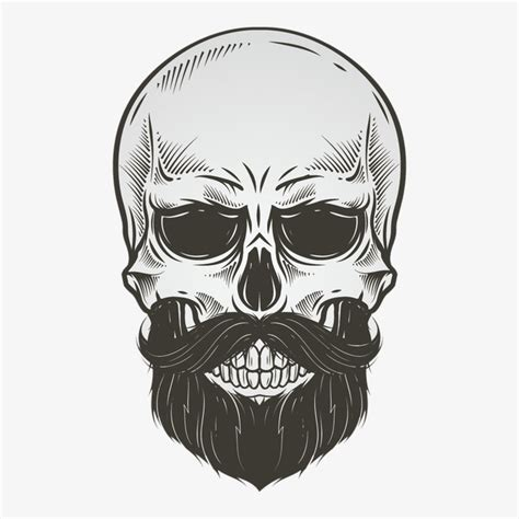 vector bearded skull skull bone material black and