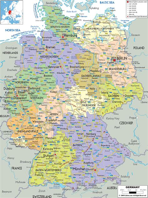 map of with cities geography detailed map of germany