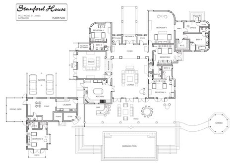 Stanford House Luxury Villa Rental In Barbados Floor Plan Luxury Mansions Floor Plans