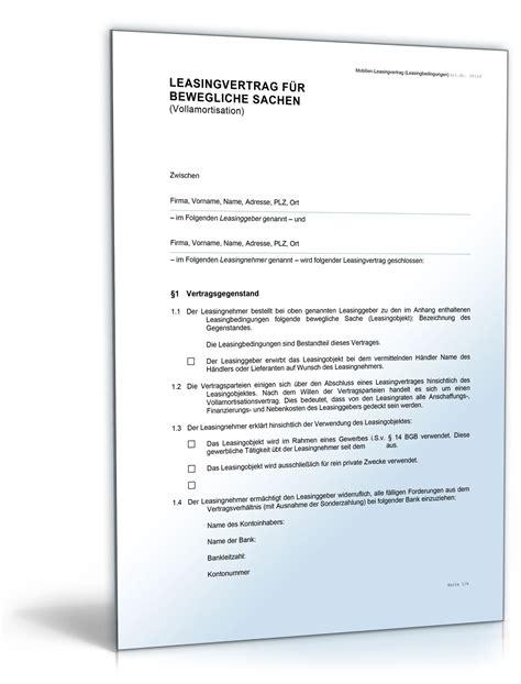 Word Vorlage Vertrag Mobilien Leasingvertrag Vollamortisation De Vertrag