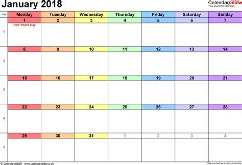 printable january blank calendars 2018 printable templates