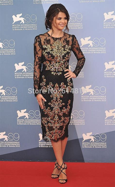 Hair For Cocktail Party - aliexpress com buy attractive selena gomz knee length black lace gold embroidery celebrity