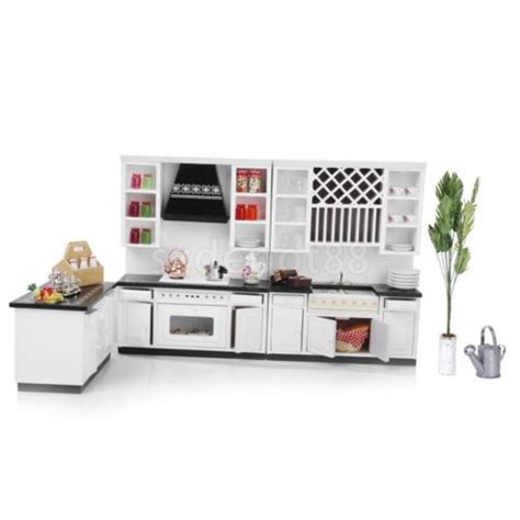 Miniature Dollhouse Kitchen Furniture Dollhouse Miniature Kitchen Furniture White Wooden Cabinet Cupboard Kit 1 12 Ebay