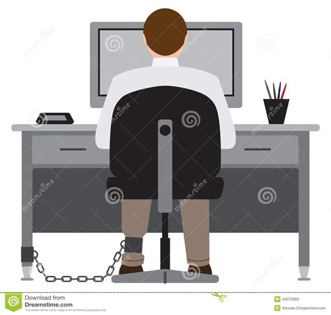 Chained To The Desk by Chained To The Desk Stock Vector Image 44370569
