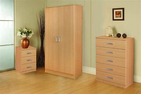 stylish oak trio set wardrobe chest  drawers  bedside  drawer ebay
