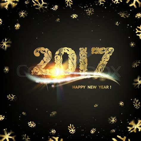 happy new year 2017 card template happy new year card gold template black background