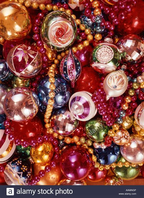 images of tree decorations 1970 1970s overall pattern of pile of tree