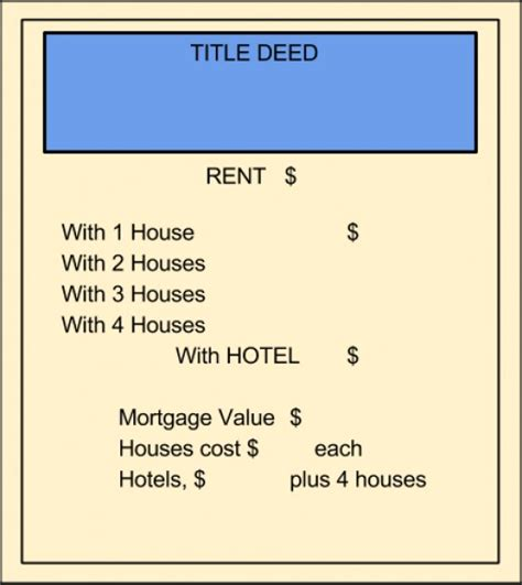 monopoly mortgage card template print your own monopoly property cards
