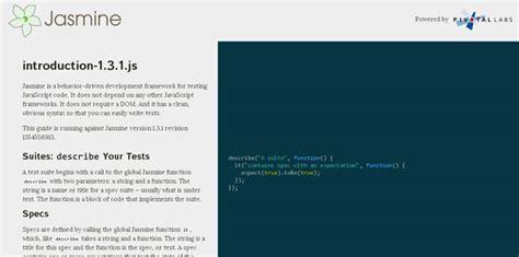 jasmine tutorial javascript testing web 开发的 javascript 框架资料收集 15款 csdn博客